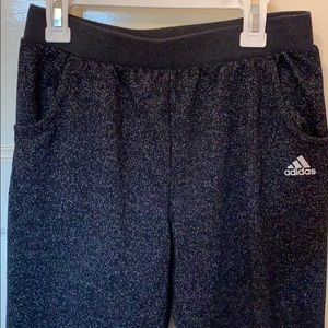 Girls Adidas joggers, black with silver sparkle.